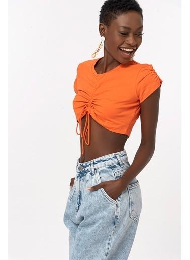 Coral Büzgülü Tshirt Turuncu Oranj
